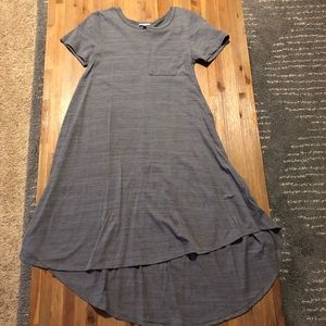 Gray T-Shirt Dress with Pocket on the Chest